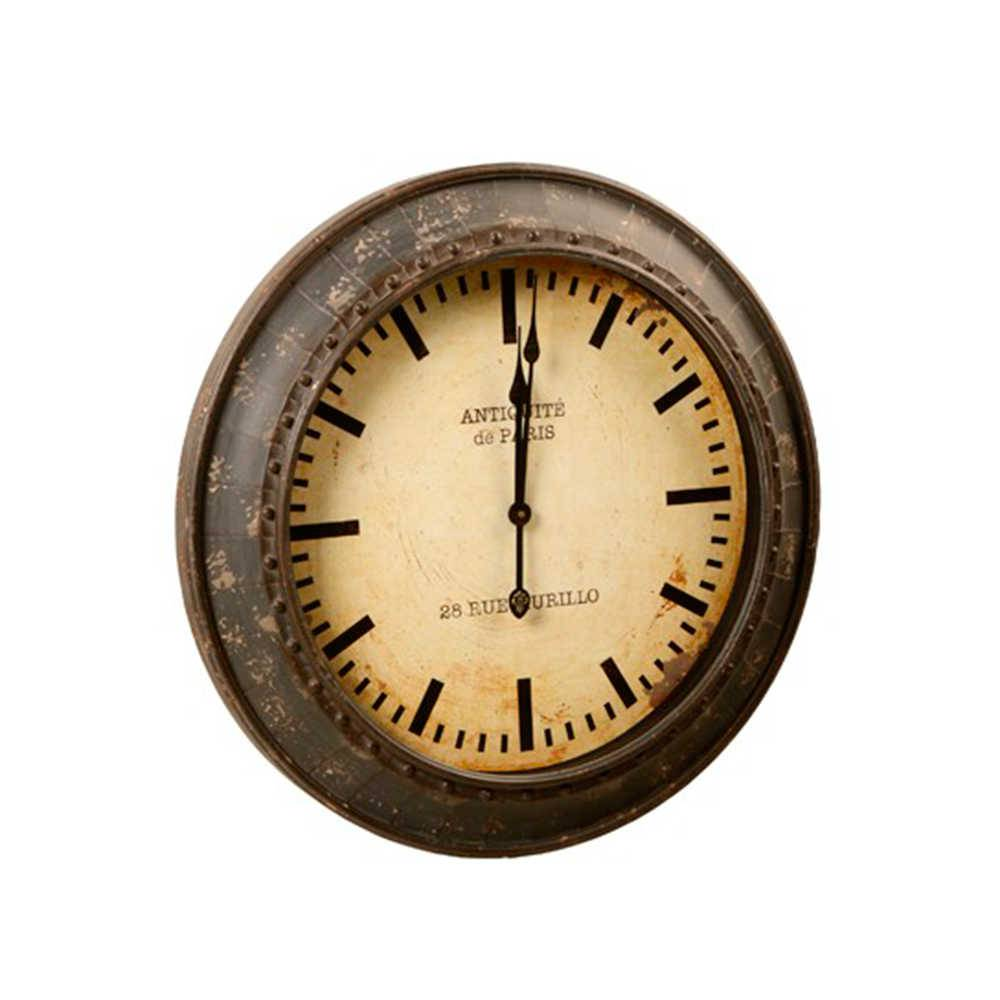 Relógio de Parede Antiqueté Marrom Envelhecido em Metal - 67x67 cm