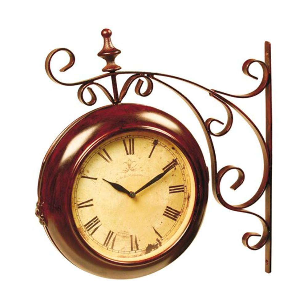 Relógio de Parede Arabesco Romano Marrom e Bege em Ferro - 44x11 cm
