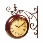Relógio de Parede Arabesco Romano Marrom e Bege em Ferro