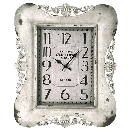 Relógio de Parede Arabescos Old Town Branco Oldway - Metal - 65x54 cm103