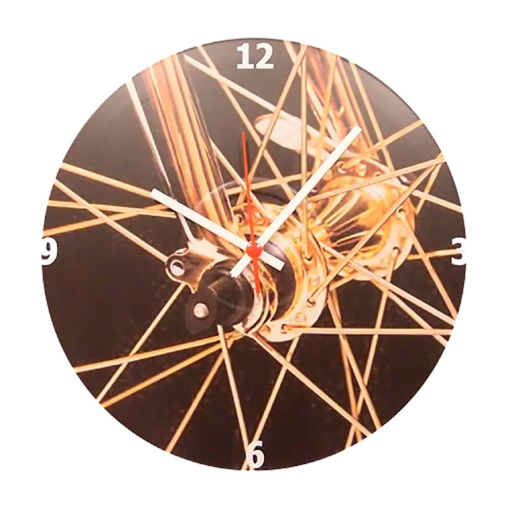Relógio de Parede Aro de Bicicleta Dourada com Fundo Preto em Vinil - 30x30 cm