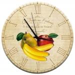 Relógio de Parede Banana, Maça e Pera com Fundo Bege em MDF - 28 cm