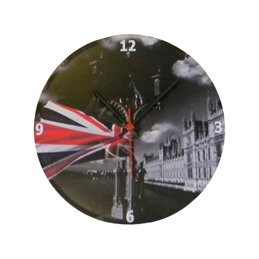 Relógio de Parede Bandeira da Inglaterra Fundo Preto em Vinil - 30x30 cm