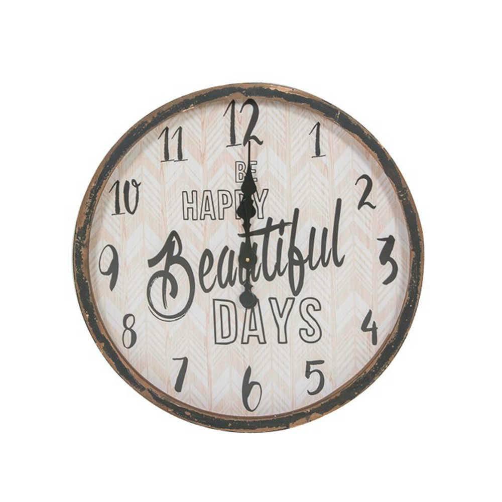 Relógio de Parede Be Happy Beautiful Days Marrom Pátina em Metal - 60 cm