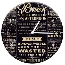 Relógio de Parede Beer Time Preto e Branco em MDF - 28 cm R$ 139,95 R$ 93,95 1x de R$ 84,56 sem juros
