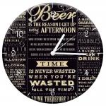 Relógio de Parede Beer Time Preto e Branco em MDF - 28 cm