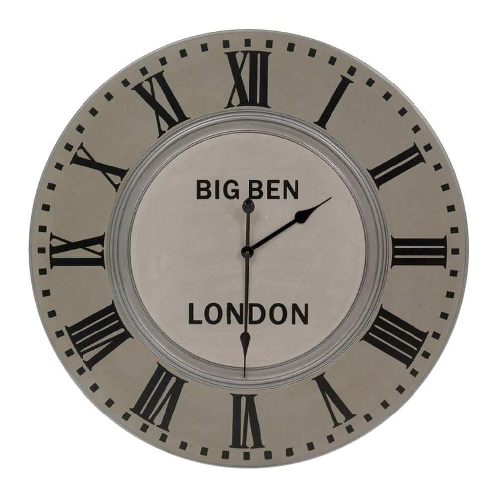 Relógio de Parede Big Ben London Cinza em Madeira - 80x6 cm