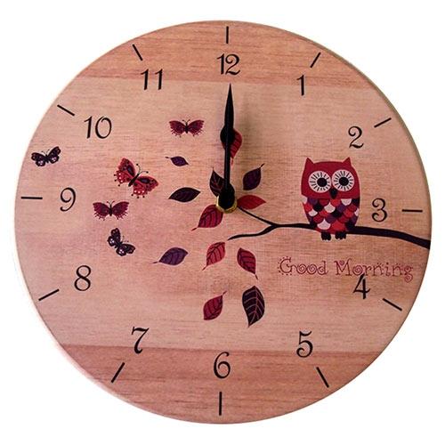 Relógio de Parede Borboletas e Corujas Good Morning em Madeira MDF - 28 cm