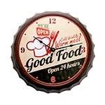 Relógio de Parede Bottle Cap Good Food em Metal - 33x33 cm