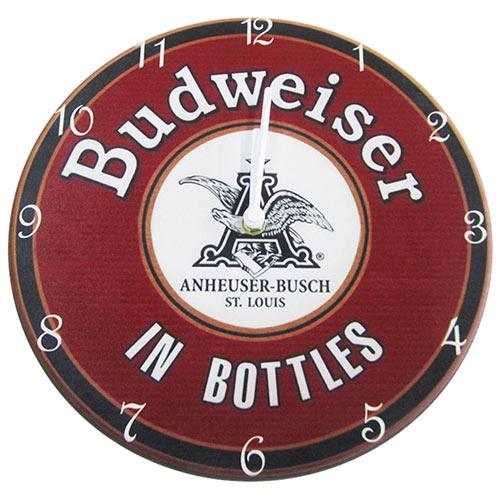 Relógio de Parede Budweiser in Bottles em Madeira MDF - 28 cm
