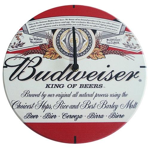 Relógio de Parede Budweiser King of Beers em Madeira MDF - 28 cm