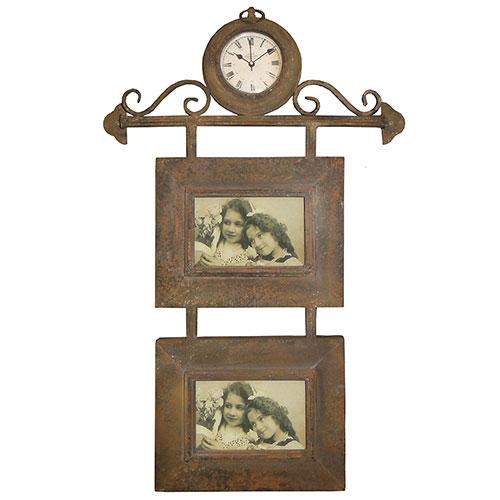 Relógio de Parede c/ 2 Porta Retratos Oldway - Metal - 65x40 cm