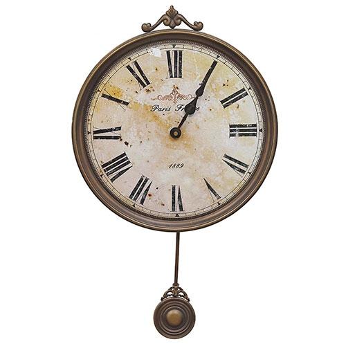 Relógio de Parede c/ Pêndulo 1889 Oldway - Em Metal - 58x36 cm 13
