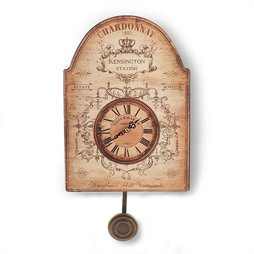Relógio de Parede c/ Pêndulo Chardonnay Oldway - 35x25 cm