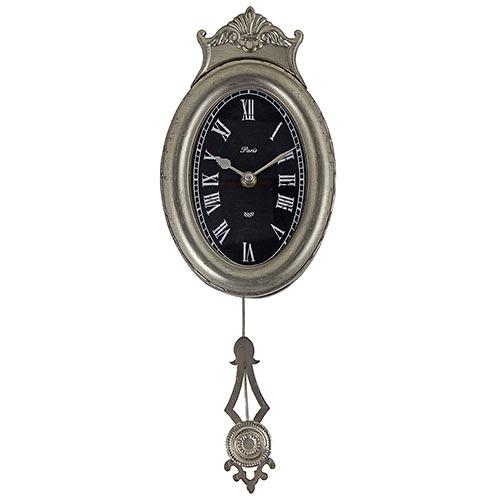 Relógio de Parede c/ Pêndulo Oval Oldway - Em Metal - 43x15 cm