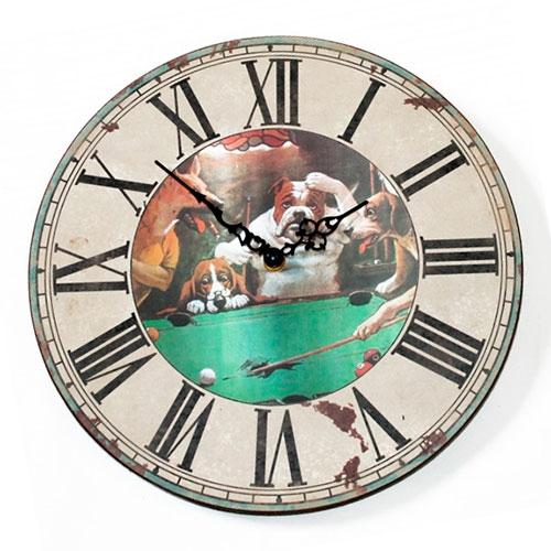 Relógio de Parede Cachorros Jogando Bilhar em Madeira - 30x30 cm