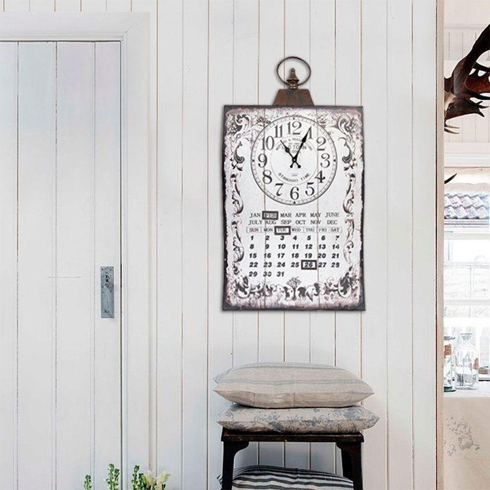 Relógio de Parede Calendário Curvo Oldway - Metal - 71x40 cm