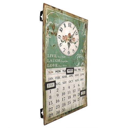 Relógio de Parede Calendário Flores - Oldway - Em Metal - 25x38 cm
