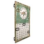 Relógio de Parede Calendário Flores - Oldway - Em Metal