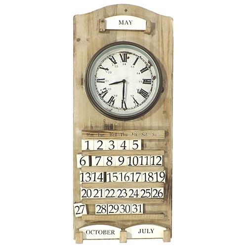 Relógio de Parede Calendário em Madeira Oldway - 78x33 cm