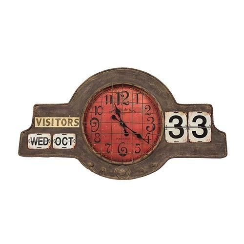 Relógio de Parede com Calendário em Metal - 109x60 cm