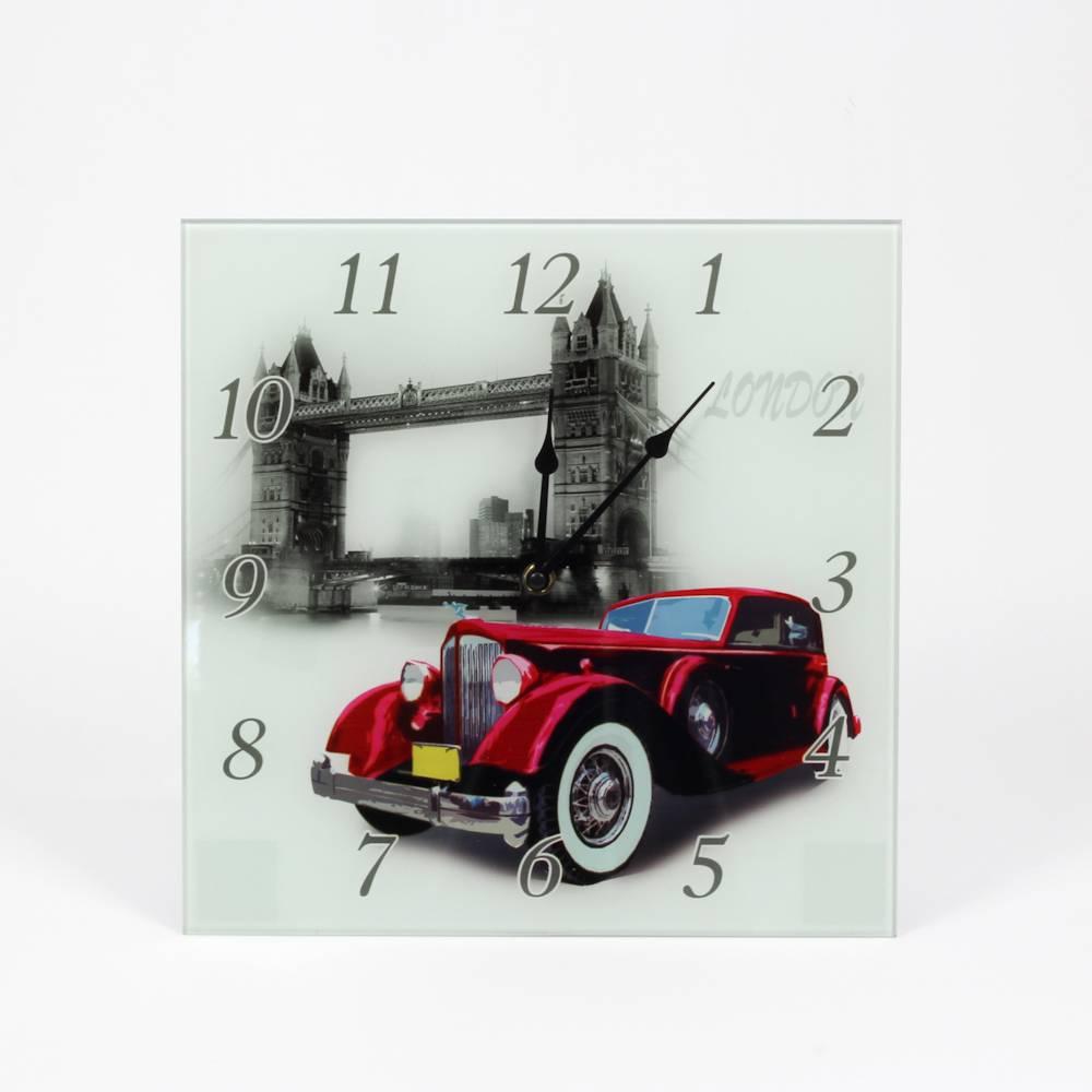 Relógio de Parede Quadrado Calhambeque Vermelho - Prestige - 30 cm