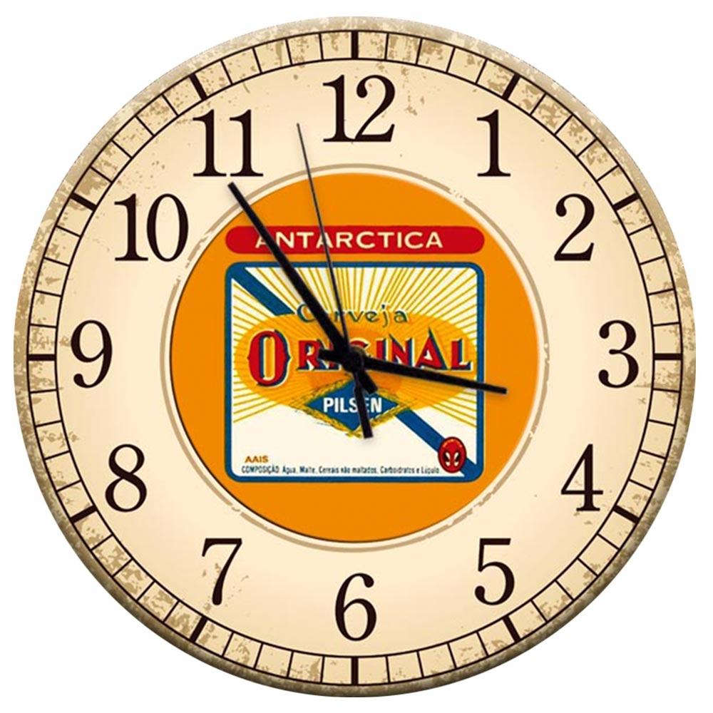 Relógio de Parede Cerveja Antarctica Fundo Bege em MDF - 28 cm
