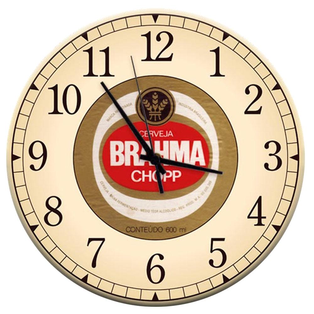 Relógio de Parede Cerveja Brahma Chopp Bege em MDF - 28 cm