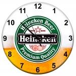 Relógio de Parede Cerveja Heineken Espumada em MDF - 28 cm