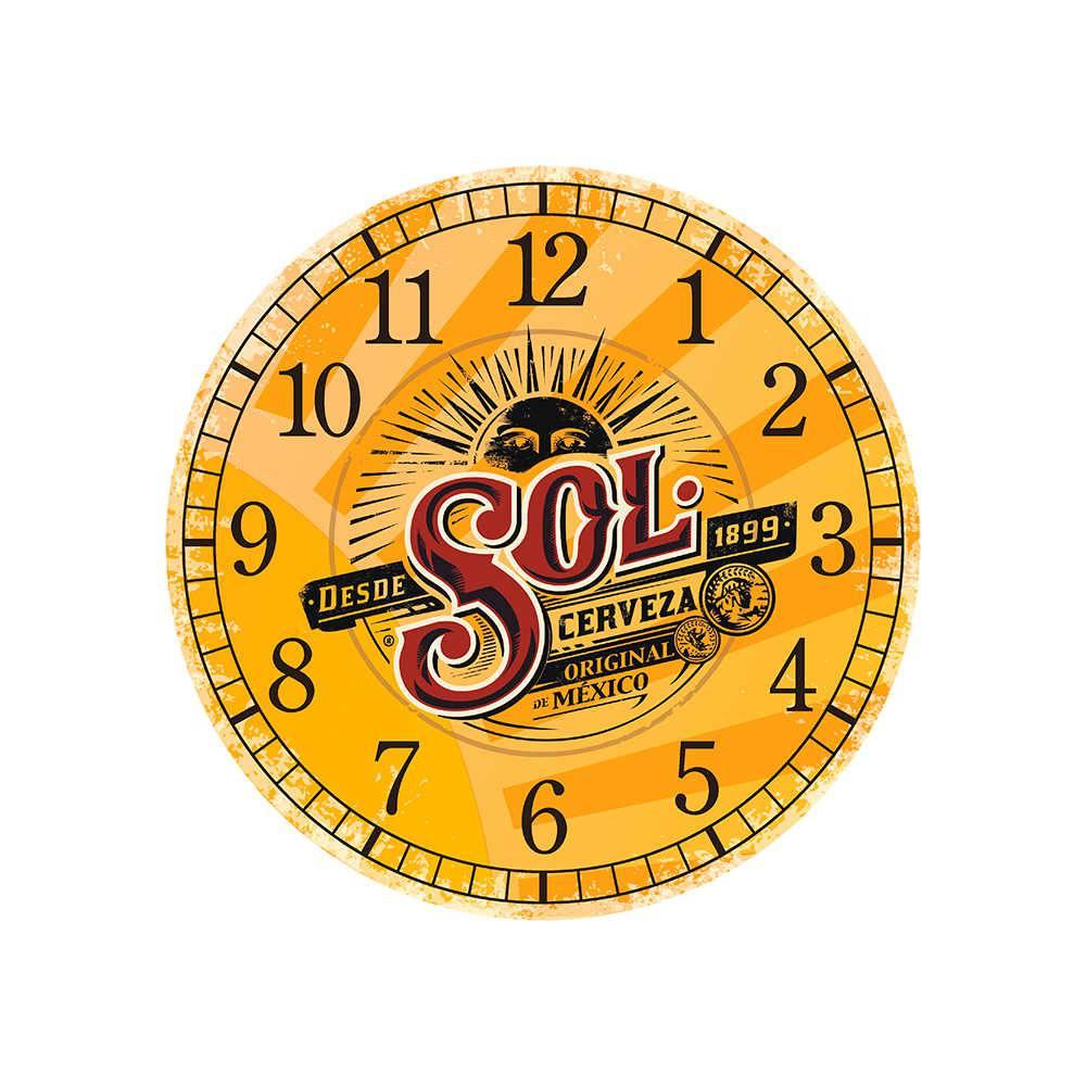 Relógio de Parede Cerveja Sol Premium Amarelo em MDF - 28 cm