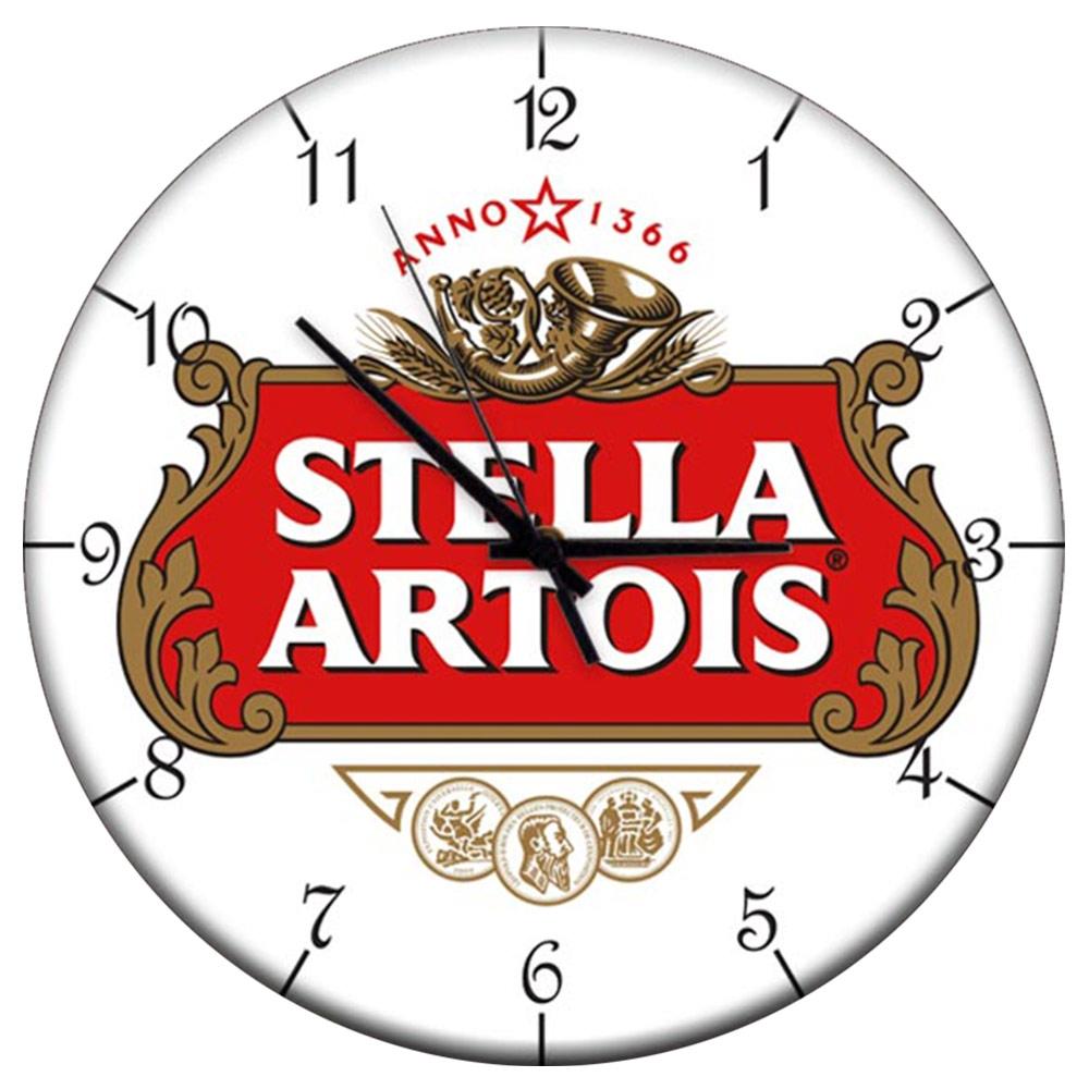 Relógio de Parede Cerveja Stella Artois Fundo Branco em MDF - 28 cm