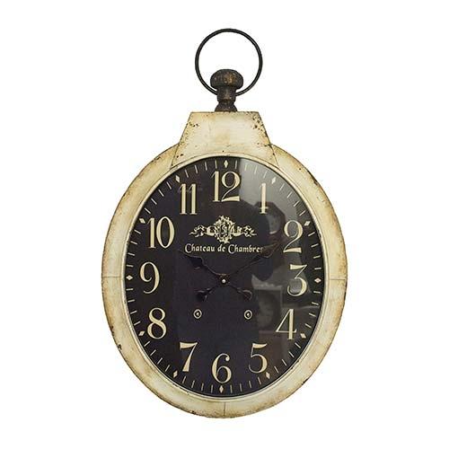Relógio de Parede Chateau Branco com Fundo Escuro Oval em Ferro Oldway - 85x51 cm