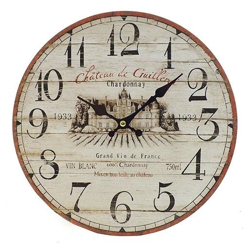 Relógio de Parede Chateau Di Guillervi Oldway - Em MDF -  29 cm