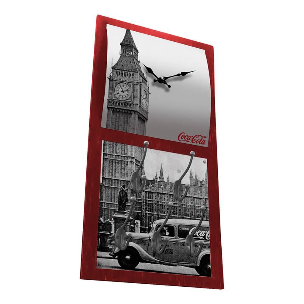 Relógio de Parede Coca-Cola Landscape Londres com Ganchos em MDF - Urban - 60,5x30,5 cm