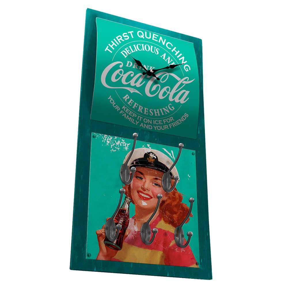 Relógio de Parede Coca-Cola Pin-Up Brown Lady com Ganchos em MDF Verde - Urban - 60,5x30,5 cm