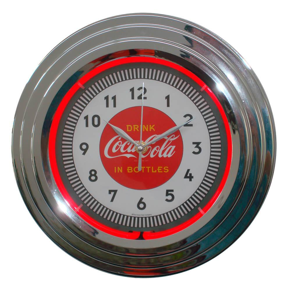 Relógio de Parede Coca-Cola Single Neon Prata - Urban - 38x6 cm