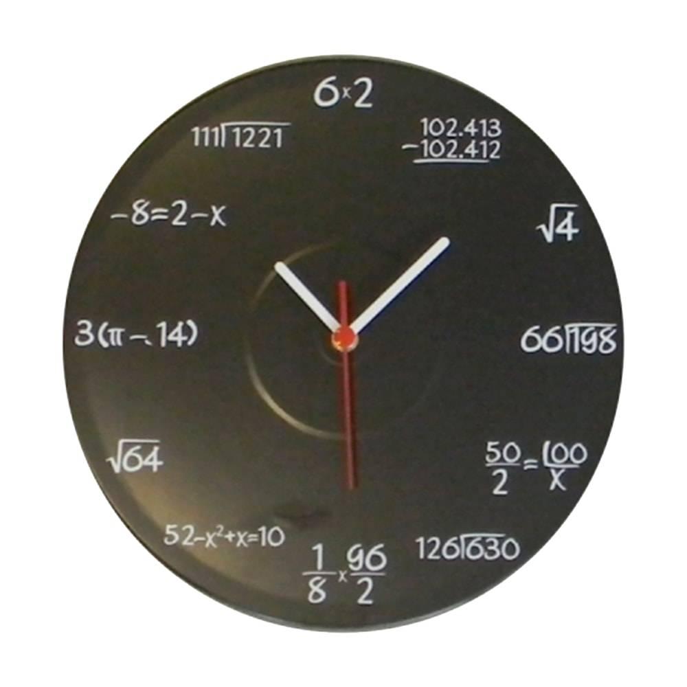 Relógio de Parede Contas de Matemática Quadro Negro em Vinil - 30x30 cm