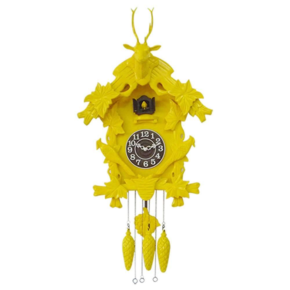 Relógio de Parede Cuco Amarelo em Madeira - Urban - 65x60 cm