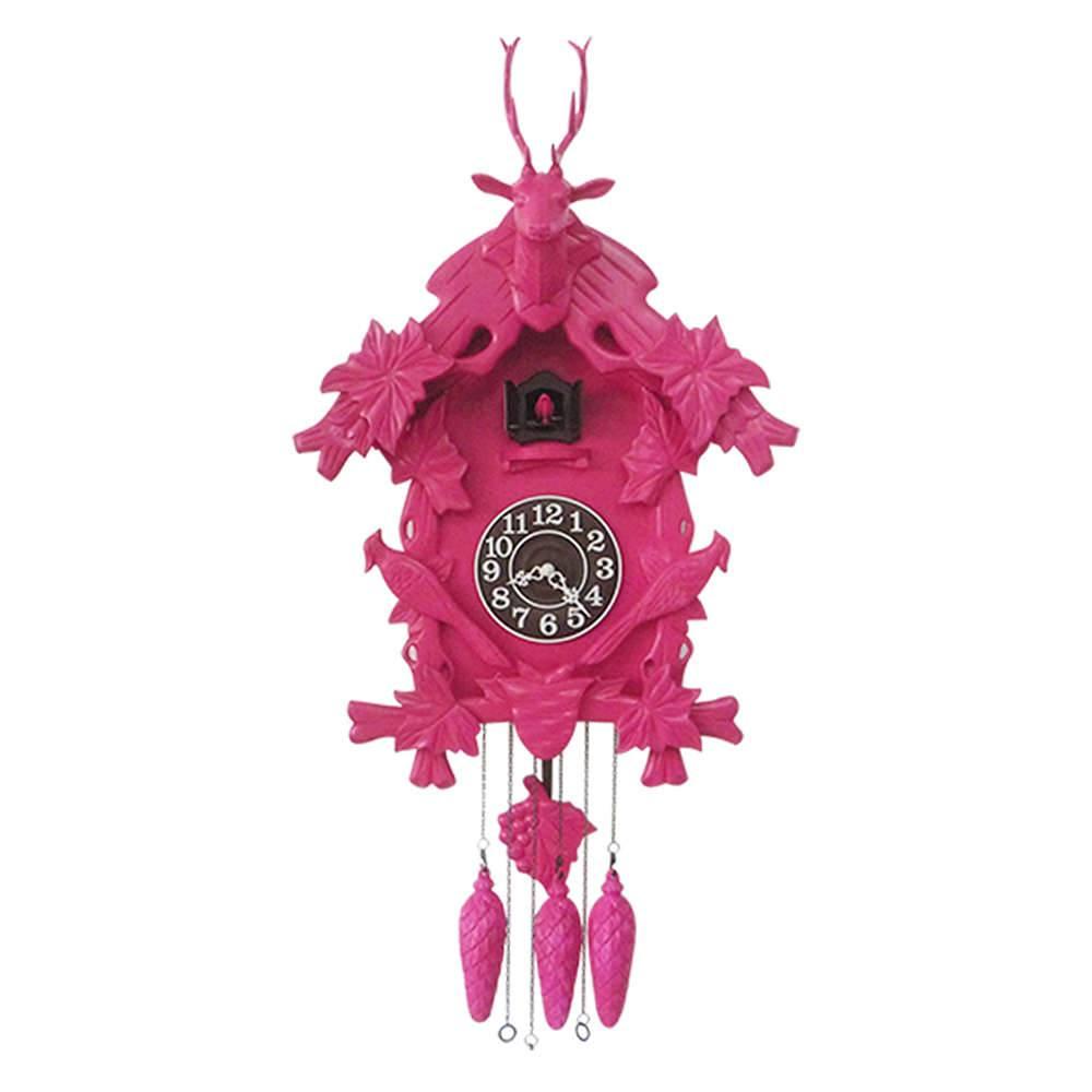 Relógio de Parede Cuco Pink em Madeira - Urban - 65x60 cm