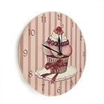 Relógio de Parede Cupcake Cereja em Madeira MDF - 28 cm