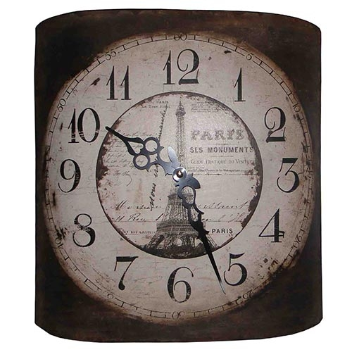 Relógio de Parede Curvo Eiffel - Oldway - Em Metal/Lata - 32x35 cm