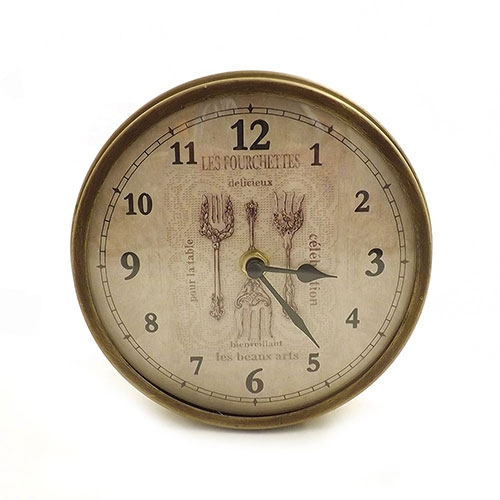Relógio de Parede Curvo Talheres Oldway  - Em metal e vidro -  17,5 cm