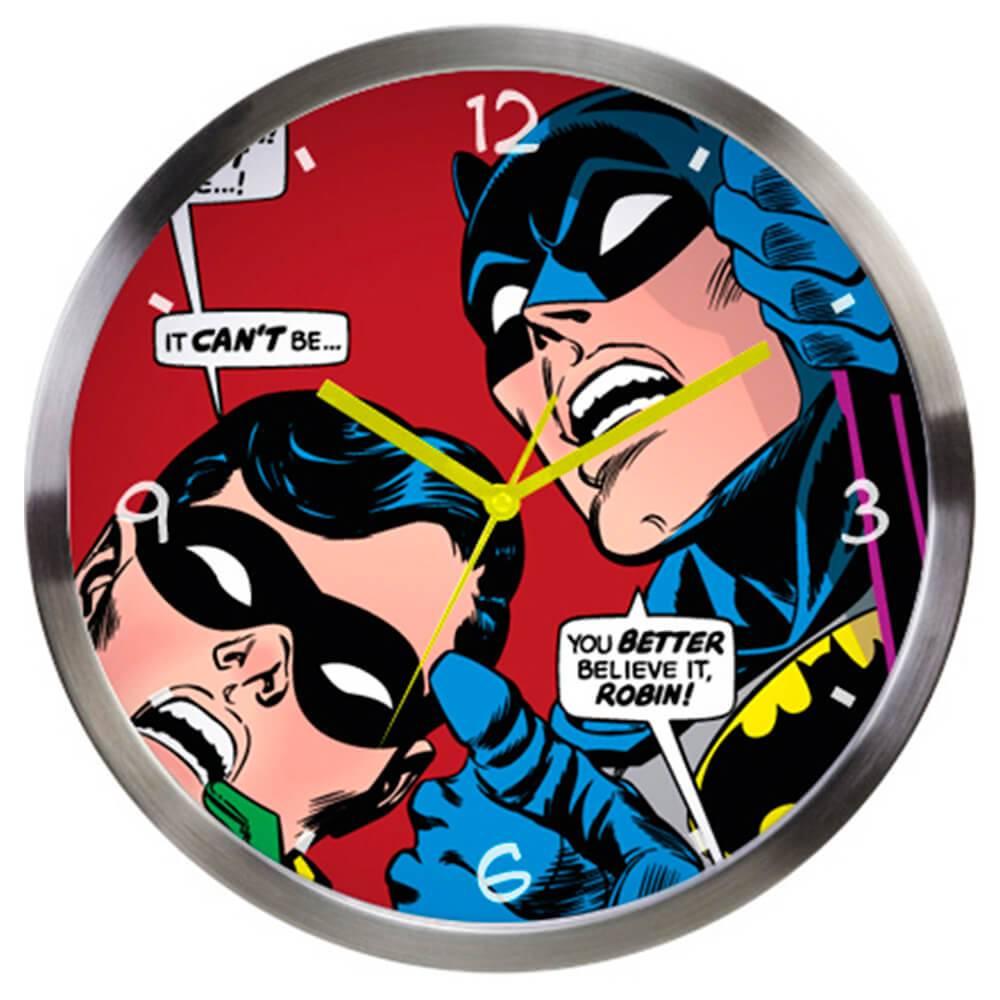 Relógio de Parede DC Comics Batman And Robin Looking Up Colorido em Metal - Urban - 30,5x3,8 cm