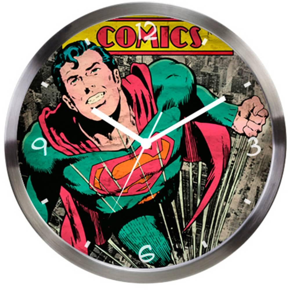 Relógio de Parede DC Comics Superman Verde em Metal - Urban - 30,5x3,8 cm