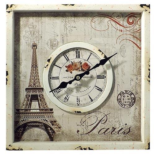 Relógio de Parede Eiffel Quadrado Oldway - 30x30 cm