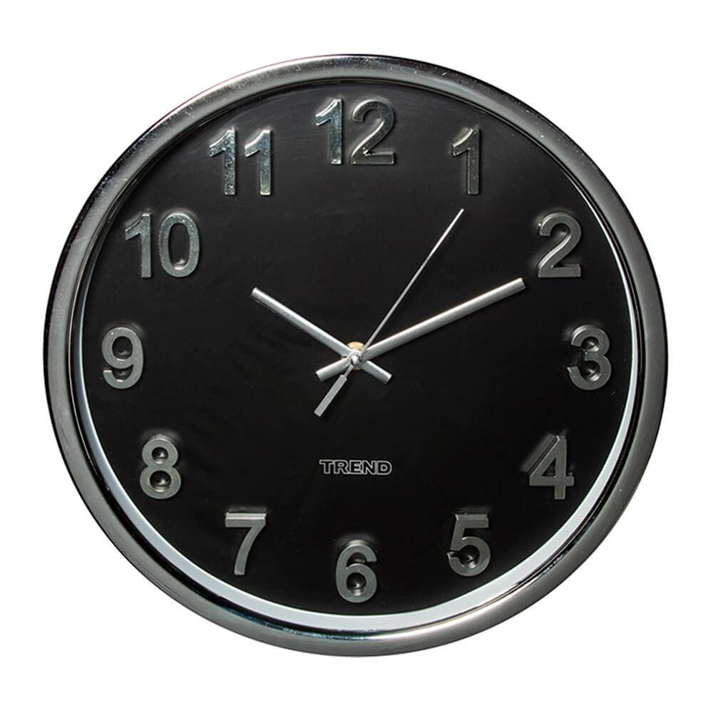 Relógio de Parede Embossed Numbers Preto - Urban - 31 cm