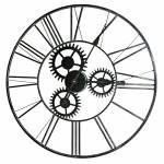 Relógio de Parede Engrenagem Grafite em Metal - 59x59 cm