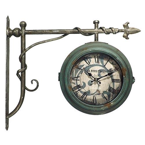 Relógio de Parede Estação 49 Bond Street Blue Oldway - Em Metal - 47x41 cm