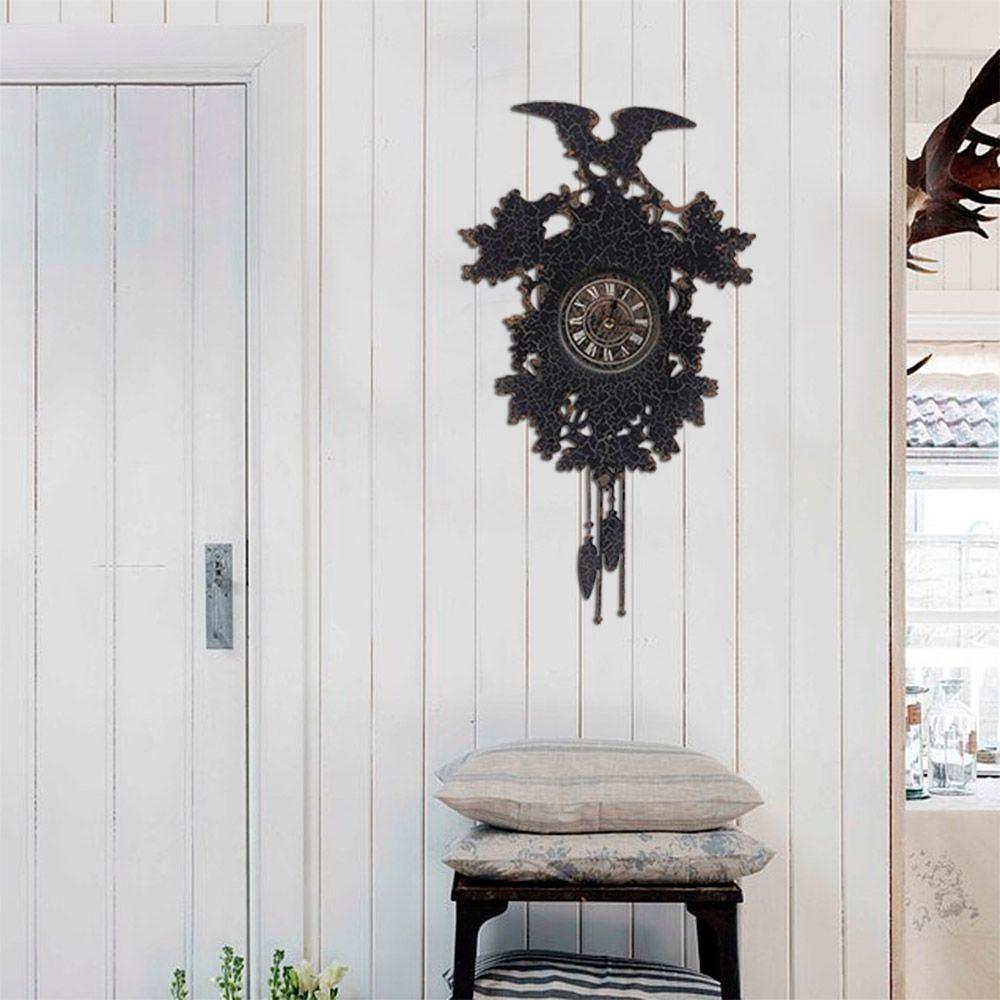 Relógio de Parede em Ferro c/ Réplica de Cuco Oldway - 72x41 cm