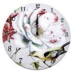 Relógio de Parede Flor Branca e Pássaro Amarelo em Madeira MDF - 28 cm